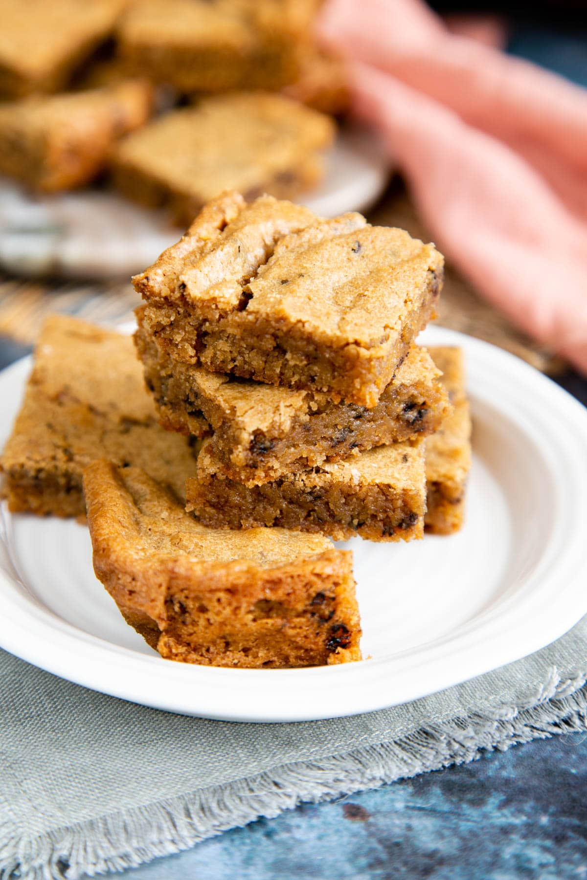 In close up, the delicious moist texture of these coffee blondies is shown clearly.