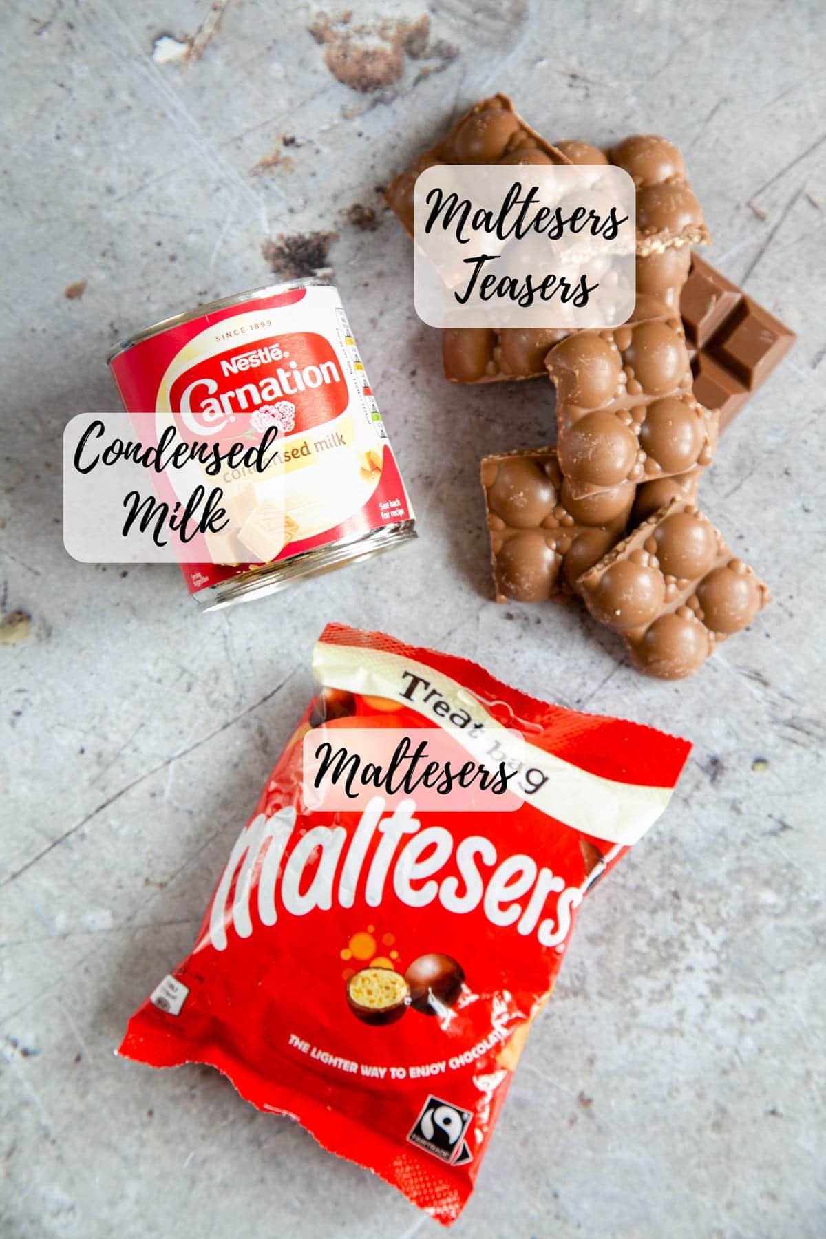 Ingredients for the fudge - Maltesers, Malteser teasers, and condensed milk.