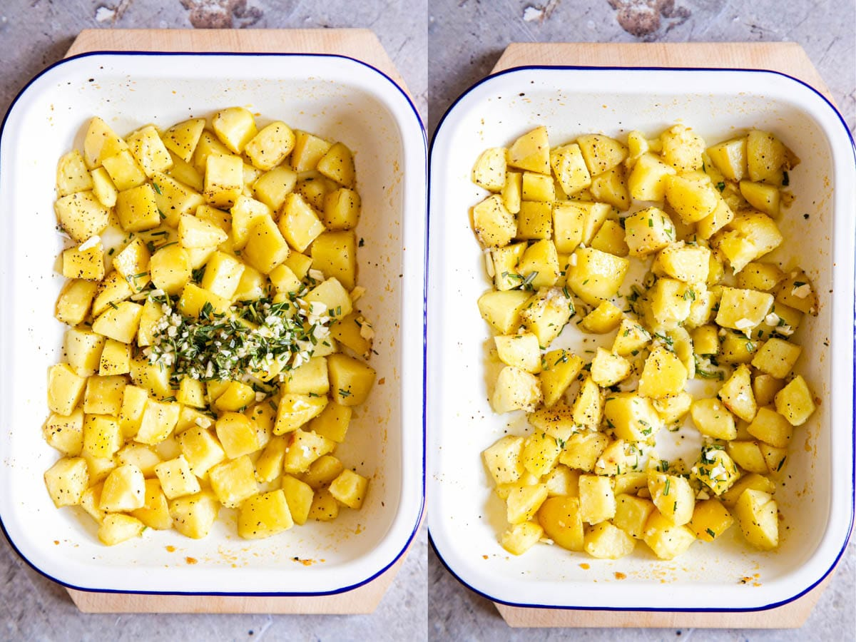 Half roasted cubed potatoes in a white enamel dish. 2 shots - chopped rosemary and garlic have been added in the first; all ingredients have been stirred in the second.