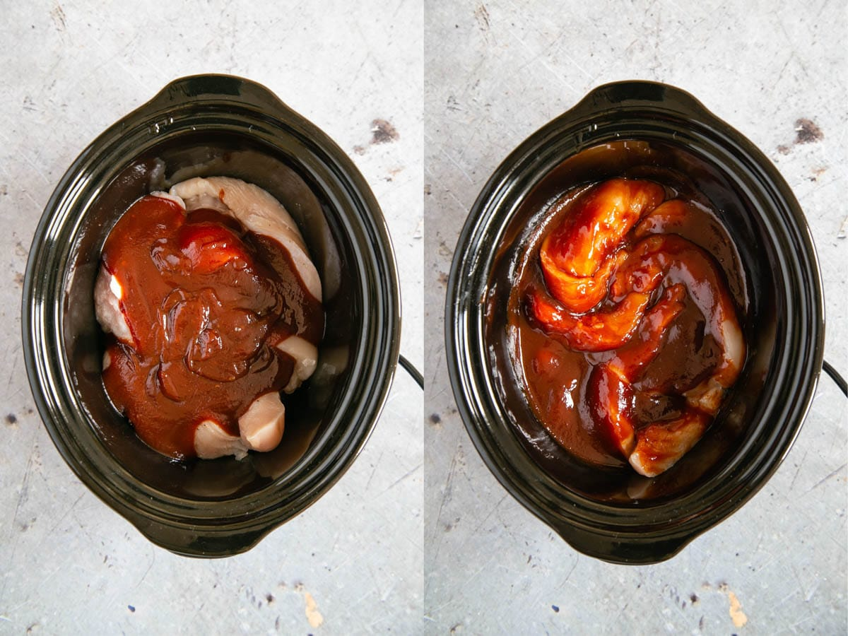 Pieces of chicken breast placed in a slow cooker pot, with BBQ sauce on top. In a second shot, the sauce and chicken has been stirred together to evenly coat the meat.