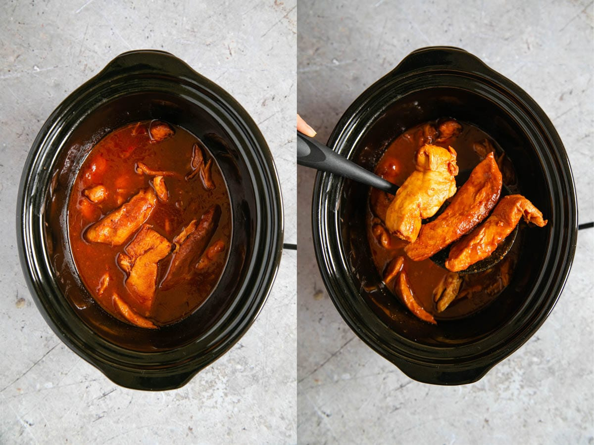 Chicken pieces in a tomato sauce in a slow cooker pot. In a second picture, the pieces are lifted from the sauce