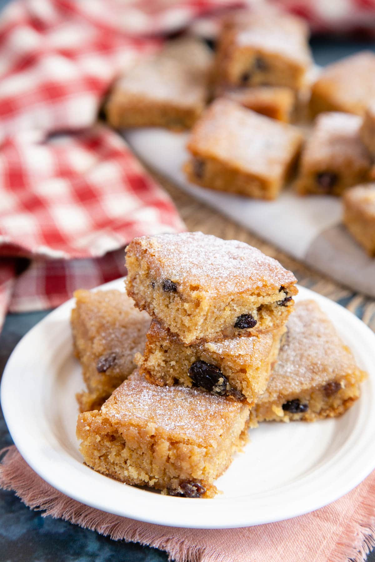 Mincemeat blondies, cut into squares showing the soft centre and plump spiced fruit
