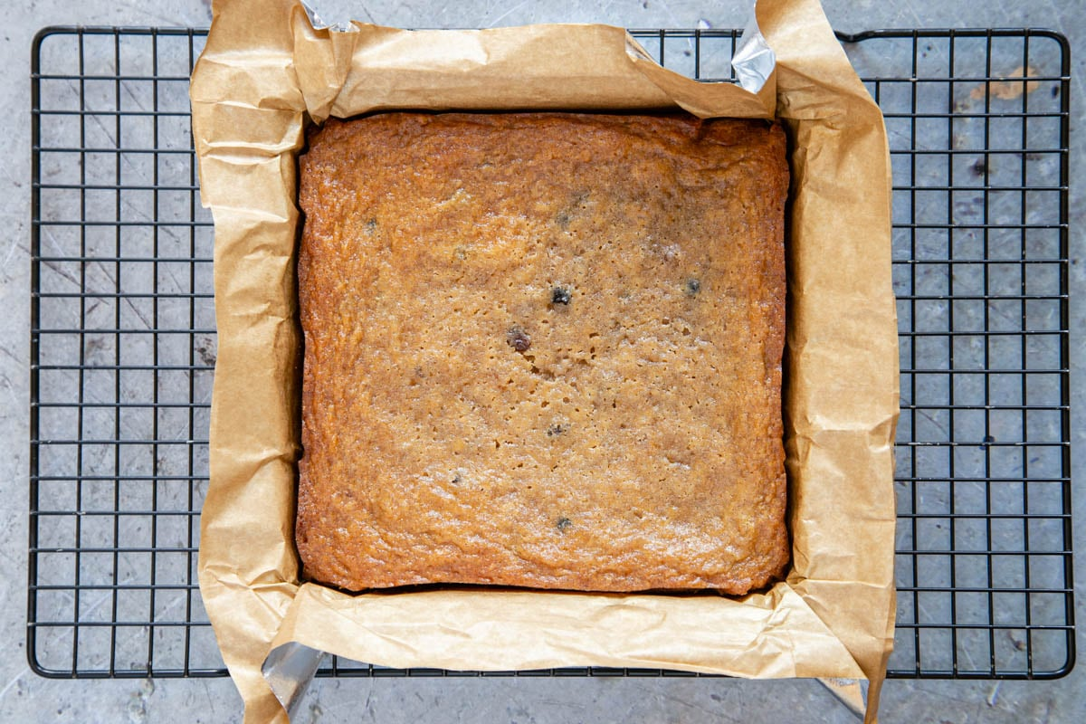 When baked, the top is golden and papery and the edges have shrunk away slightly from the sides of the pan