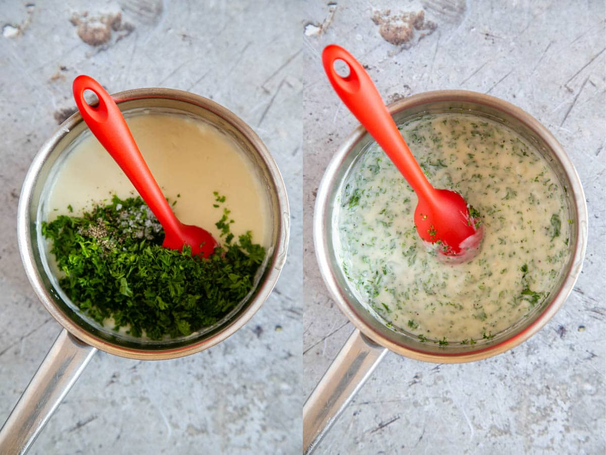 The chopped parsley is added to the saucepan of sauce, and in the second picture it's been stirred together.